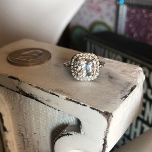 Jewelry - Cushion Cut Sterling Silver White Sapphire Ring